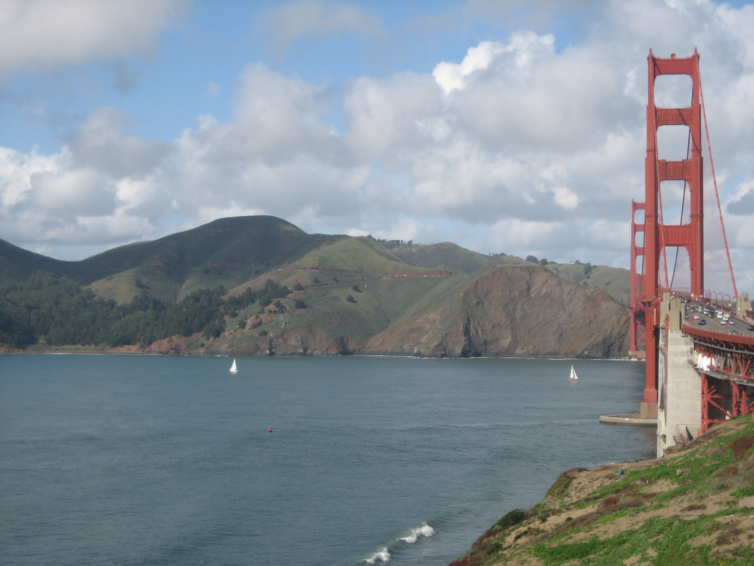 marin headlands on a clear day with the golden gate bridge to the right
